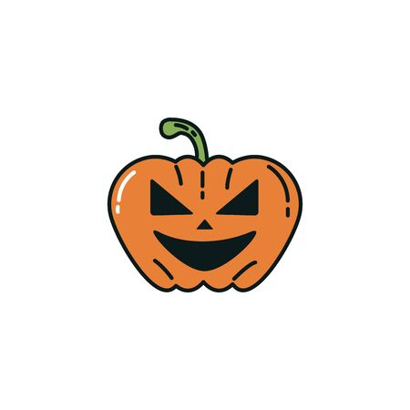 halloween pumpkin character flat icon vector illustration design Фото со стока - 138023375
