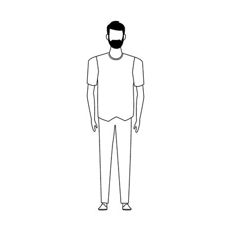 man with beard avatar icon over white background, vector illustration