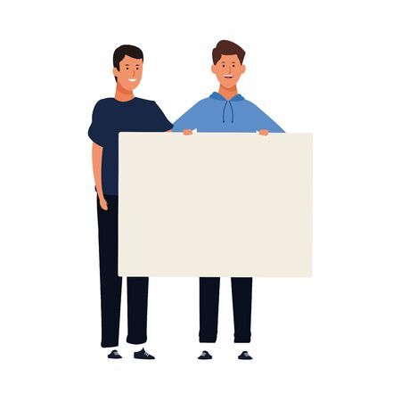 cartoon happy men holding a blank placard over white background, vector illustration Ilustração