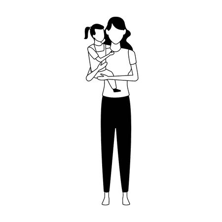 avatar mother with her little daughter over white background, vector illustration Illusztráció