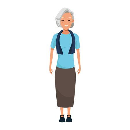 happy old woman standing icon over white background, colorful design. vector illustration