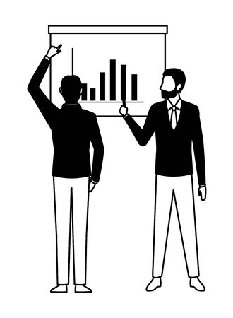 business people businessman wearing beard and using a wand pointing out a data chart and businessman back