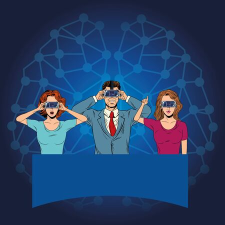 group of people with virtual reality headset avatar cartoon character with neuronal conection background vector illustration graphic design 向量圖像