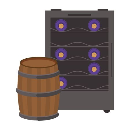 wooden barrel with wine cooler icon over white background, vector illustration