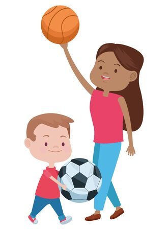 cute mother and son playing basketball vector illustration design Иллюстрация