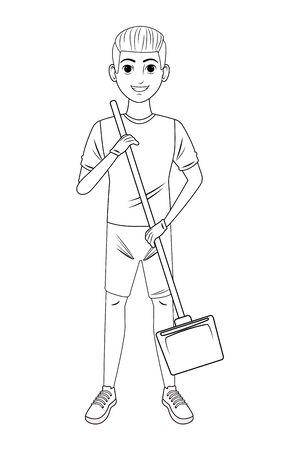cleaning service person boy holding a dustpan avatar cartoon character in black and white vector illustration graphic design Ilustração