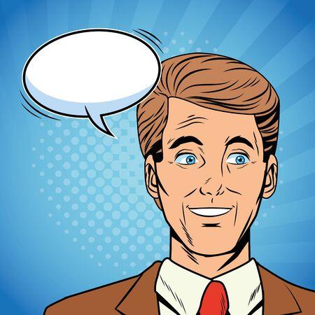 Pop art businessman face talking with blank speech bubble over striped colorful background vector illustration graphic design Ilustração