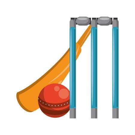 cricket equiment elements bat cricket, ball and stumps icon cartoon vector illustration graphic design