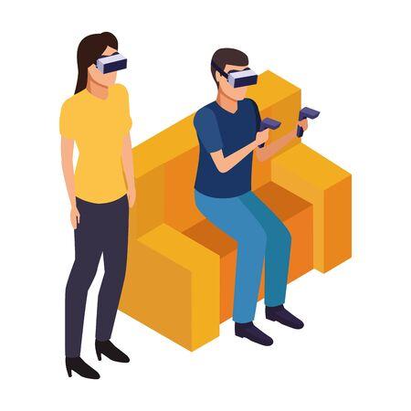 virtual reality technology modern digital experience headset glassescartoon ,vector illustration.