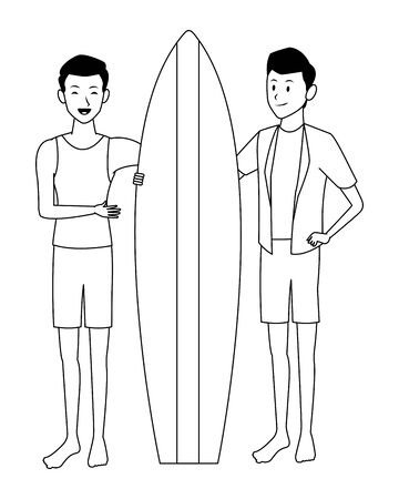 Men Friends enjoying summer with surf table isolated vector illustration graphic design