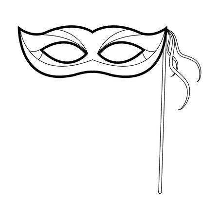 Mardi gras mask on stick icon over white background, black and white design, vector illustration 일러스트