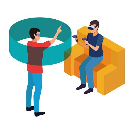 virtual reality technology, young men friends living a modern digital experience with headset glassesand joysticks cartoon vector illustration graphic design 向量圖像