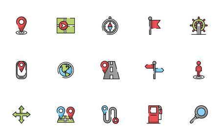 bundle of maps and navigation icons vector illustration design Zdjęcie Seryjne - 138004243