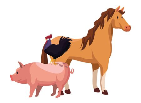 farm, animals and farmer horse and rooster over a pig icon cartoon vector illustration graphic design Ilustracja