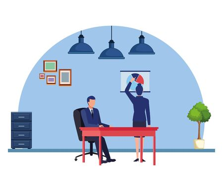business business people businesswoman back view pointing a data chart and businessman sitting on a desk avatar cartoon character indoor with hanging lamps, file cabinet and plant pot vector illustration graphic design