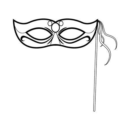 black and white Design of mardi gras mask on stick icon over white background, vector illustration