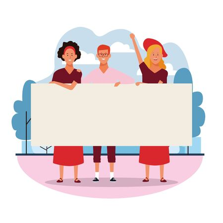 cartoon young women and man protesting with blank posters in the park over white background, colorful design. vector illustration