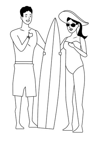 Young couple enjoying summer in swimsuit with surf table vector illustration graphic design