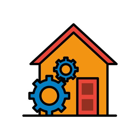 house front facade with gears machine vector illustration design