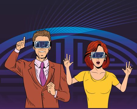 couple wearing virtual reality headset avatar cartoon character with pop art background vector illustration graphic design 向量圖像