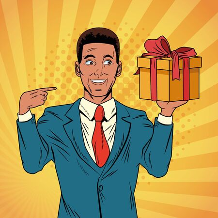 Pop art businessman smiling pointing gift box cartoon over striped background vector illustration graphic design