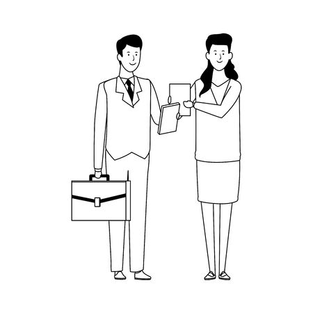 cartoon business woman and man standing and holding a portfolio over white background, vector illustration