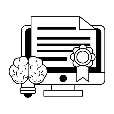 knowledge education idea concept elements cartoon vector illustration graphic design in black and white Ilustracja