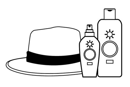 Summer hat and sun bronzer bottles ,vector illustration graphic design. Çizim