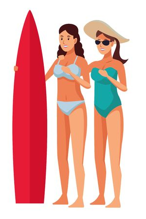 Young women friends in summer with swimsuits with surf table