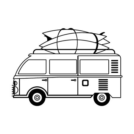 Vintage van with surf tables cartoons vector illustration graphic design Иллюстрация