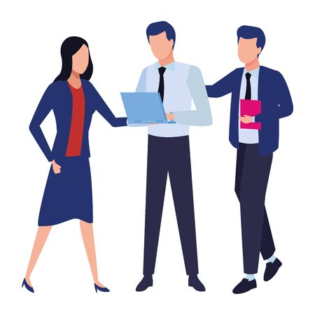 Business partners working with office documents and laptops colorful isolated faceless avatar vector illustration graphic design Ilustração