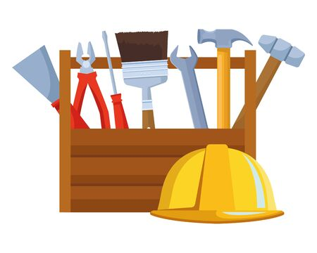 Construction tools and equipment toolbox with helmet cartoons vector illustration graphic design.