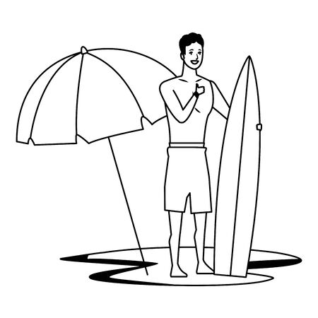 Young man with surf table and umbrella in summer time cartoon vector illustration graphic design