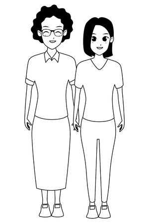 Family mother with adult daugther together cartoon vector illustration graphic design