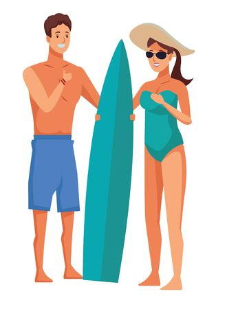 Young couple enjoying summer in swimsuit with surf table