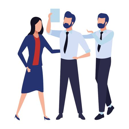 three businesspartners working with office supplies colorful isolated faceless avatar vector illustration graphic design Ilustração