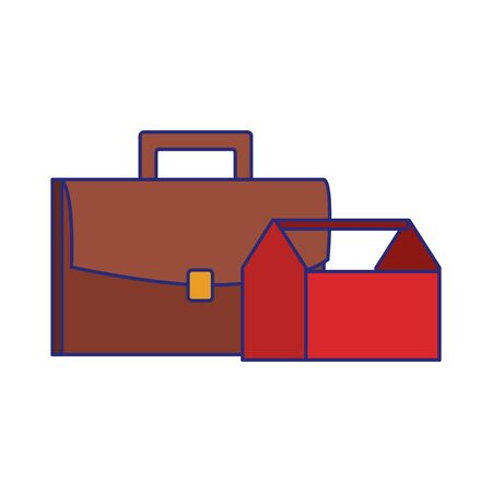 business portoflio and toolsbox over white background, colorful design, vector illustration