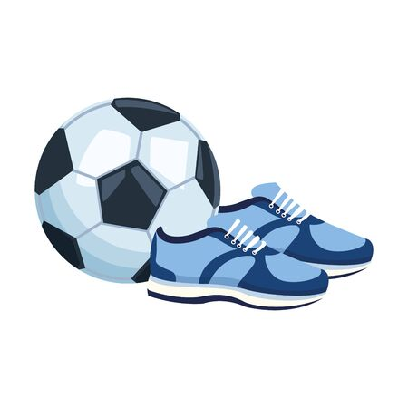 soccer ball and sport shoes icon over white background, colorful design, vector illustration