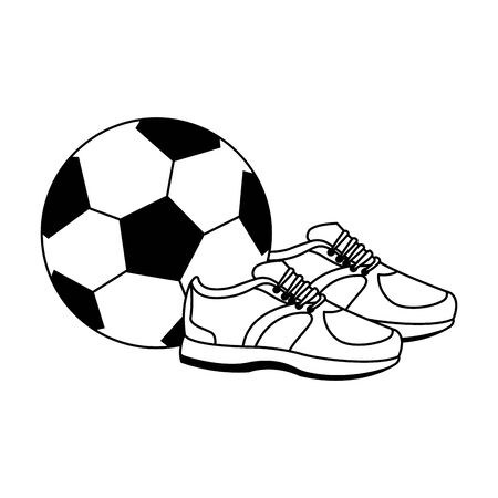soccer ball and sport shoes icon over white background, vector illustration Çizim