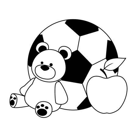 soccer ball, teddy bear and apple over white background, vector illustration