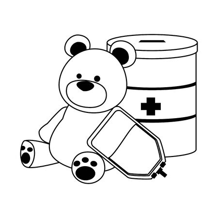 donation tin, teddy bear and blood bag over white background, vector illustration