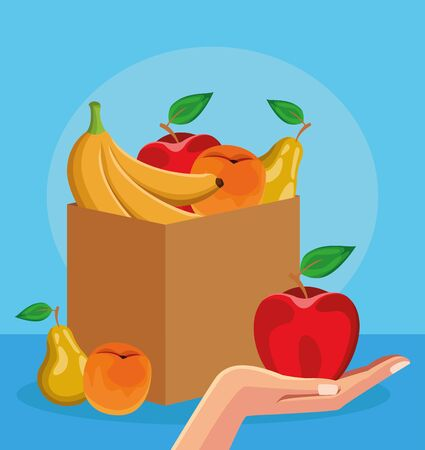 box with healthy fruits and hand holding a apple over blue background, colorful design, vector illustration