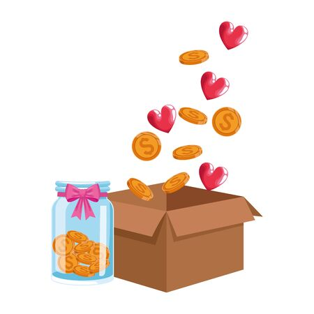 box with money coins, hearts and bottle with coins over white background, vector illustration