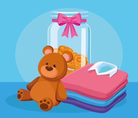 cute bear, money box and stack of men shirts over blue background, colorful design, vector illustration