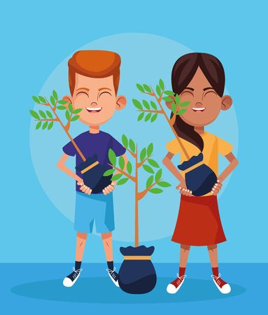 cartoon boy and girl with plants over blue background, colorful design, vector illustration