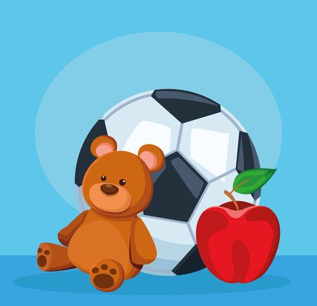 soccer ball, bear and apple fruit over blue background, colorful design, vector illustration
