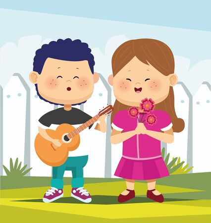 cartoon boy playing guitar and singing a girl with flowers over white fence background, colorfu l design, vector illustration