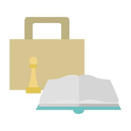 portfolio, chess piece and book over white background, vector illustration Ilustracja