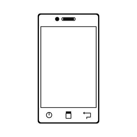 smartphone device icon over white background, flat design, vector illustration