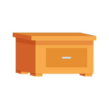 nightstand with drawer icon over white background, vector illustration